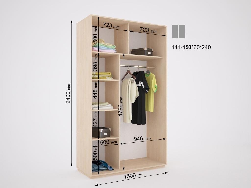 Внутреннее наполнение, расположение полок в шкафах-купе на з.